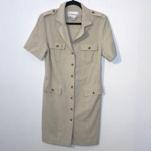 Linen blend utility style mini buttons down dress